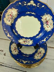 Spode Copeland's 10.5 Blue Cobalt China Plates With Gold Edging 12 Count
