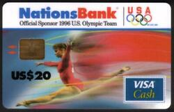 20. And 50. 1996 Olympics Visa Cash Ribbons Of Color Matched Set Of 2 Smart Card
