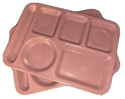 2 Pink Carlisle School Cafeteria Serving Trays 6 Compartment Divided Lunch Tray
