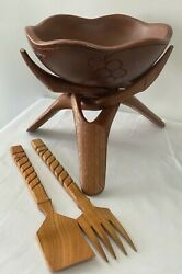 Wood Salad Bowl W/ Stand Fork Serving Utensils Brown Tropical Island Style