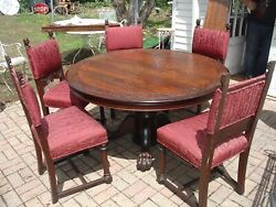 Antique 1890and039s Tiger Oak Hastings 54 Round Table And Chairs Paw Feet Horner Style