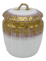 Antiques French Limoges Lavender Gold And White Biscuit Jar