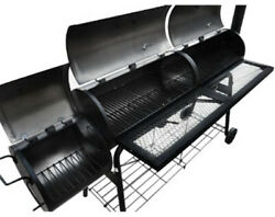 Large Barbeque Smoker Patio Bbq Barrel Grill Meat Roasting Griddle Chimnea Steel