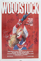 Woodstock 69 Film Poster From 79 Signed By 29 Csn, The Who, Ten Years After ++