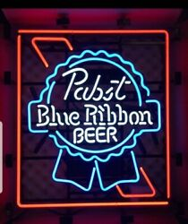 Pabst Blue Ribbon Beer Neon Light Up Back Bar Sign Pbr Man Cave Game Room Mib