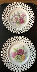Lefton Hand Painted Roses Collectors Plate Lattice Edge Set Of Two Ne 6350