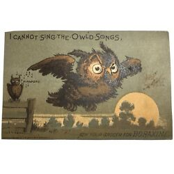 Boraxine Trading Card Victorian Owl Advertisement I Cannot Sing The Owld Songs