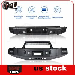 Bulkier Black Front Rear Bumper Guardw W Led Winch Plate For Chevy Silverado Gmc