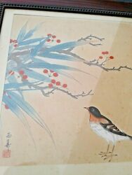 Antique Vintage Signed Marked Chinese Or Japanese Bird And Tree Wall Art Picture