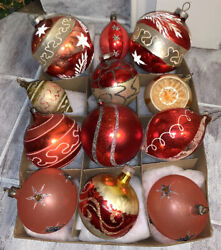 12 Vintage Christmas Glass Ornaments Rare Shiny Brite Reflector Indent Mica Star