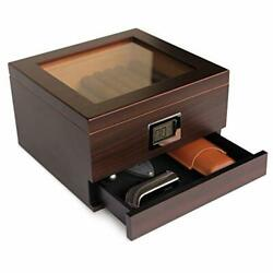 Glass Top Handcrafted Cedar Humidor With Front Digital Hygrometer Humidifier Gel
