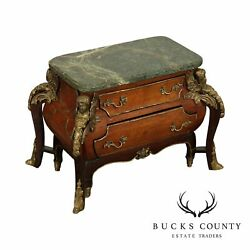 French Louis Xiv Style Marble Top Bombe, Ormalu Mounted Commode, Jewelry Chest