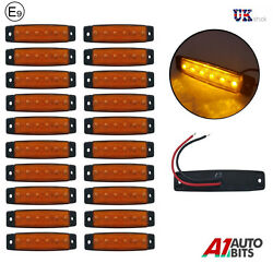 20x 12v 6 Led Yellow Side Front Marker Lights For Trailer Truck Lorry Cab E-mar