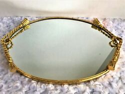 Vintage Gold Tone 15 Inch Vanity Mirror Tray Heavy Gold Rope with Tassel Design
