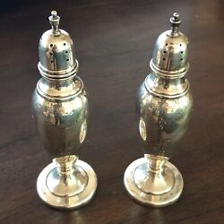 M Fred Hirsch Heavy Sterling Silver Non Weighted Salt And Pepper Shakers 135.6 Gr