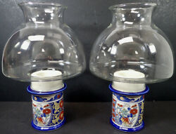 Lot Of 2 Vintage Ornate Asian Porcelain Candle Holders With Clear Glass Domes