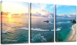 Nature Wall Paintings Beach Wall Decor Sea View Canvas Art for Bedroom Bathrooms