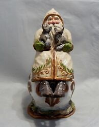 Bethany Lowe For Pam Schifferl Large Santa Holding Baby Foxes Figure
