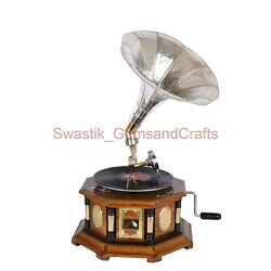 78 Rpm Vinyl Player Gramophone Wooden Phonograph Record Player With Free Disk
