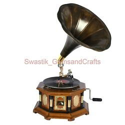 Gramophone 78 Rpm Vinyl Player Wooden Phonograph Record Player With Free Disk