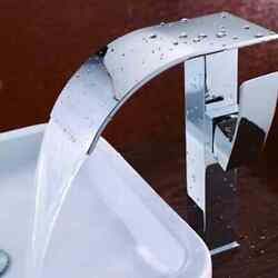Brass Single Handle Single Hole Waterfall Vessel Sink Faucet In Polished Chrome