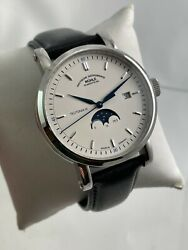 New Muhle Glashutte Teutonia Iv Moonphase M1-44-05-lb Watch W/ Box + Papers
