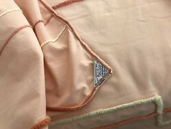 Vintage Chenille Full Bedspread Deco Floral Flowers Peach Green Cutter Crafts