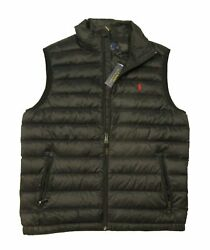 Nwt Polo Big And Tall Menand039s Zip Down Packable Vest Black Red 2xb