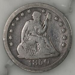 Raw 1850-o Seated Liberty 25c Uncertified Ungraded New Orleans Silver Quarter