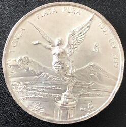 1997 1oz .999 Pure Silver Mexican Libertad Unc Key Date Low Mintage 100000