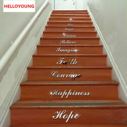 Wall Stickers Stairs WordArt Love Live Laugh Dream Mirrored Decor Living Room