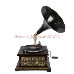 78 Rpm Vinyl Player Wooden Gramophone Phonograph Record Player With Free Disk