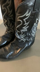 Vintage Nocona All Black Leather Western Cowboy Boots Pointy Toe Usa Menand039s 9 E