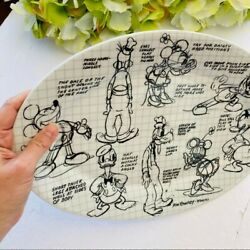 Classic Disney Black/white Sketched Drawing Glass Platter/dish Novelty
