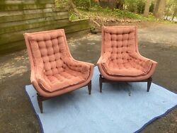 Vintage Adrian Pearsall Like Large Tufted Rose Chairs Excellent Condition