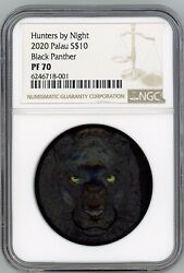 Hunters By Night Black Panther 2020 Palau 2oz Silver Coin 10 Ngc Pf70