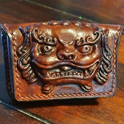 Chinese Foo Dog Leather Wallet Hand Made Per Order / Chinese Inspired Wallet