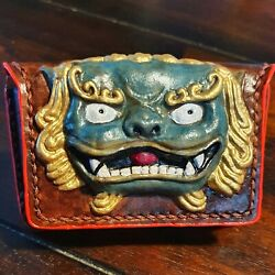 Chinese Foo Dog Painted Leather Wallet Hand Made Per Order / Chinese Inspired
