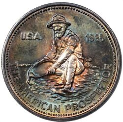 1985 Engelhard Silver American Prospector 1-ounce Round - Colorful Toning -