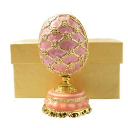 Pink Faberge Egg W/ Mini Floral Basket Antique Vintage Collectible Gift Box New