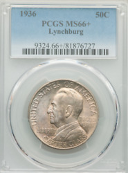 1936 Lynchburg Half Pcgs Ms66+ Immaculate Hints Of Lustrous Amber And Steel Blue
