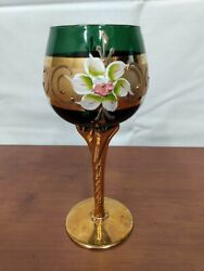 Murano Italy Emerald Green Enameled Flowers 24k Gold Twisted Stem 7 Wine Goblet