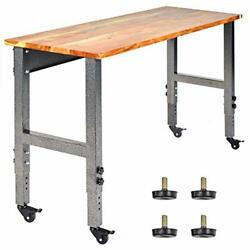 Work Bench Acacia Wood Garage W/ Casters Tool Table W/adjustable Height Legs