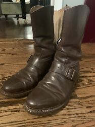 Vintage Probst's Usafe Flight Boots Rare Buckle Side Zip Sz 7-8 Brown Air Force