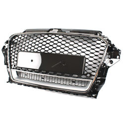 Glossy Black And Chrome Front Bumper Mesh Grille Rs3 Style For 13-16 Audi A3 S3 8v