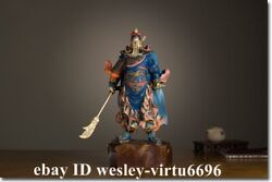 Copper Hand-painted Guan Gong Guanyu Warrior God Of Wealth Buddha Hold Knife