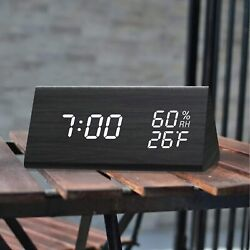 Digital Alarm Clock with Wooden Electronic LED Time Display 3 Alarm Settings