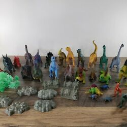 Lot Of 28 Vintage Dinosaur Toys Figures 45+ Total Pieces Play Set Mixed Brands
