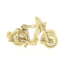 Vintage 9k Gold Motorcycle Bike With Functional Wheels Collectible Charm Pendant