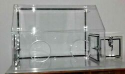 Glove Box Acrylic Transparent 35x24x25 With Transfer Chamber 10x10 And 2 Valves